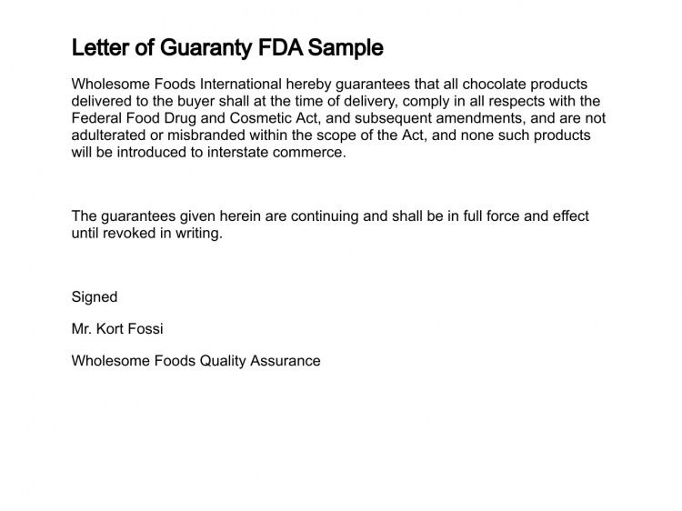 Letter of Guaranty