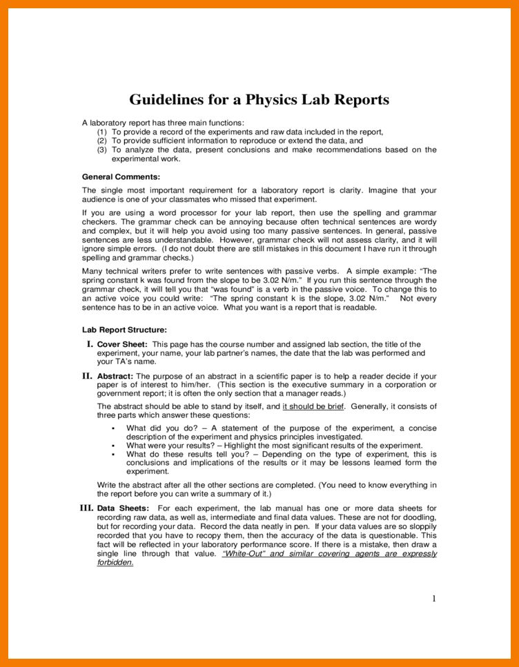 7+ physics lab report example | resume holder