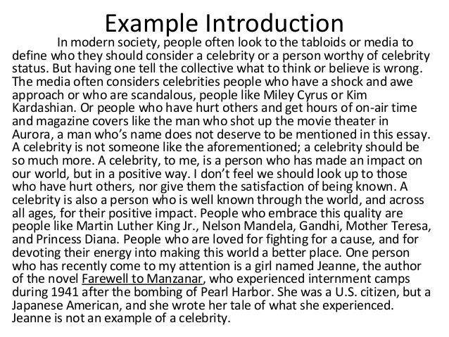 Celebrity essay intro paragraph
