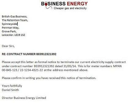 Gas and Electricity Example Termination Notice Letters