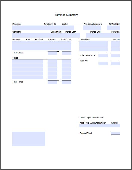 free create pay stub template