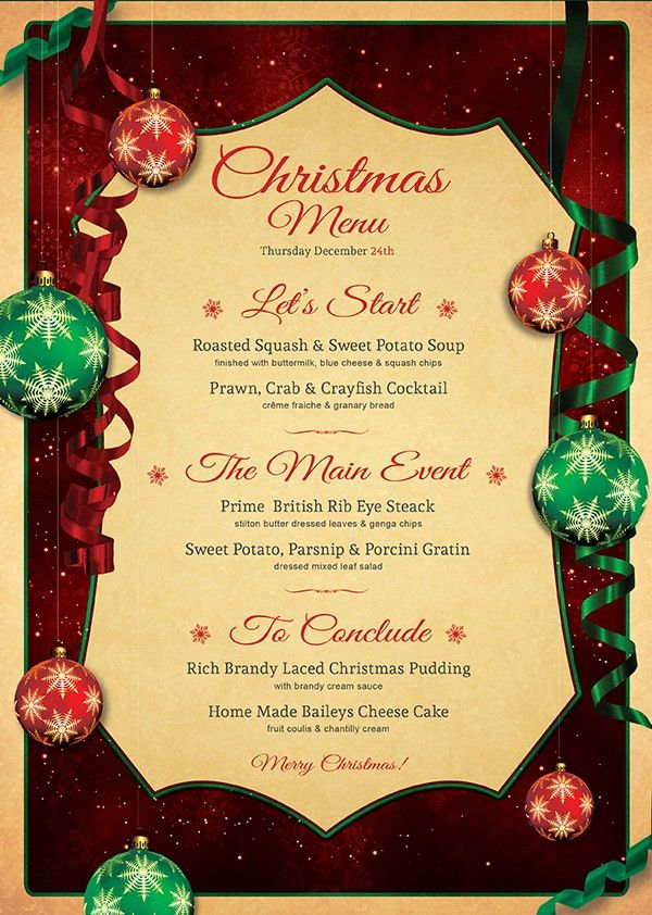Christmas Eve Menu Psd Template Customizable V7