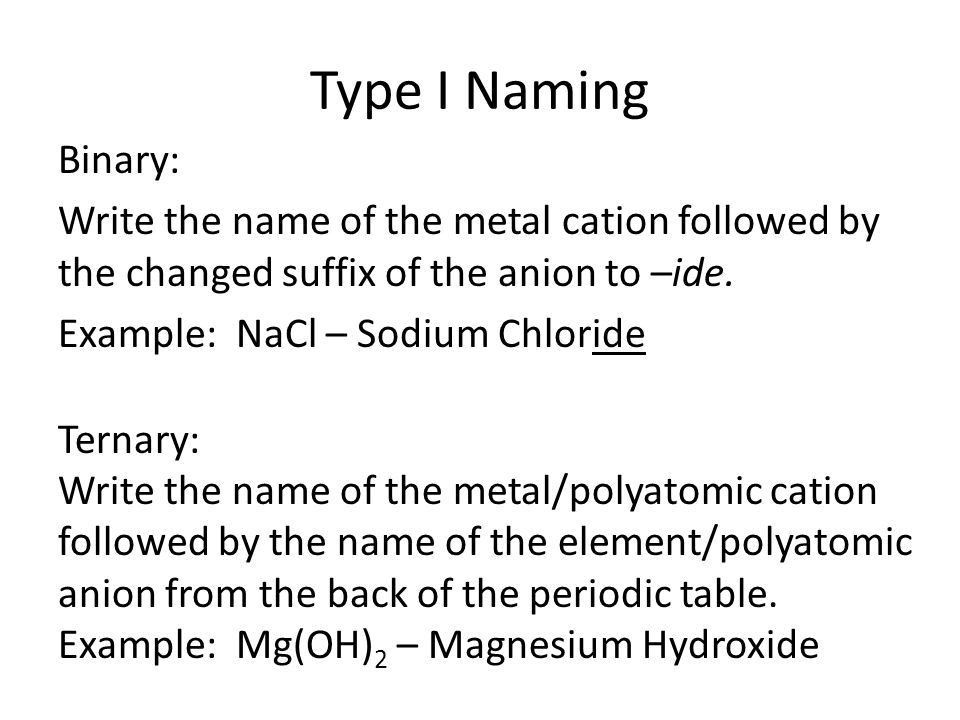 Nomenclature Chapter 9. Types of Ions Monatomic – contains only ...