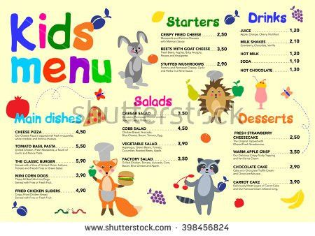 Cute Colorful Meal Kids Menu Template Stock Vector 498016960 ...