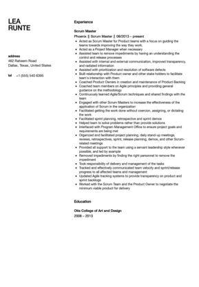 Scrum Master Resume Sample | Velvet Jobs