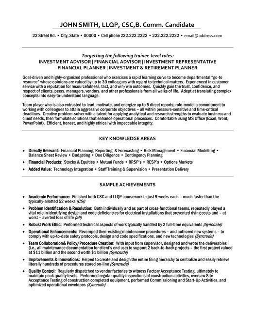 financial advisor sample resume sample resumes financial advisor