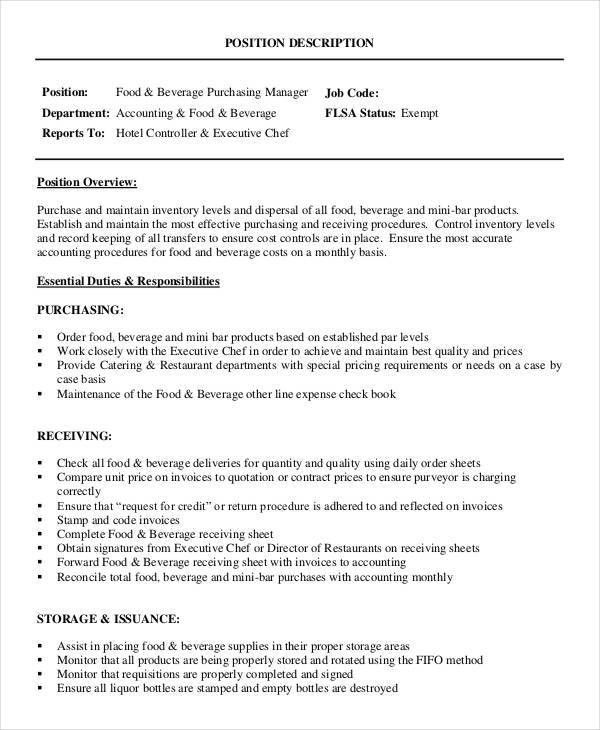 Purchasing Manager Job Description - 7+ Free Word, PDF Documents ...