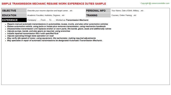 Transmission Mechanic Resume Sample