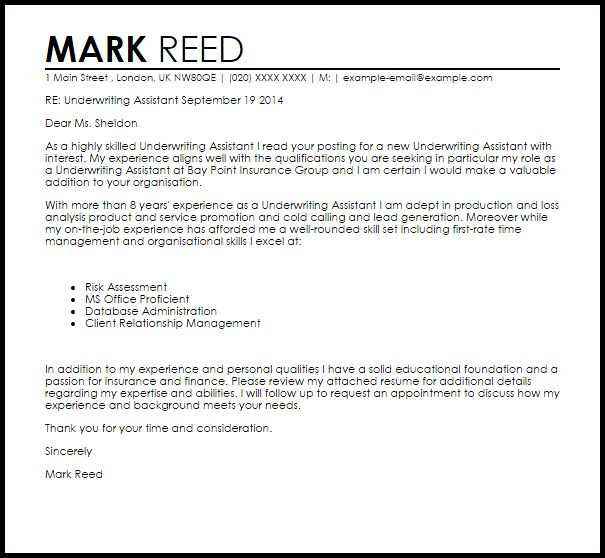 Underwriting Assistant Cover Letter Sample | LiveCareer