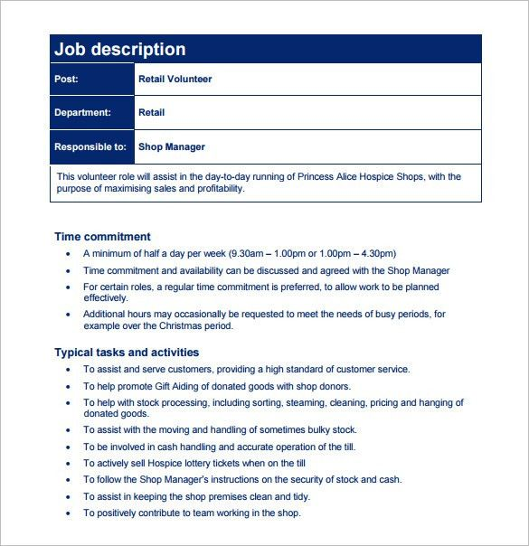 Customer Service Job Description Templates - 12+ Free Sample ...