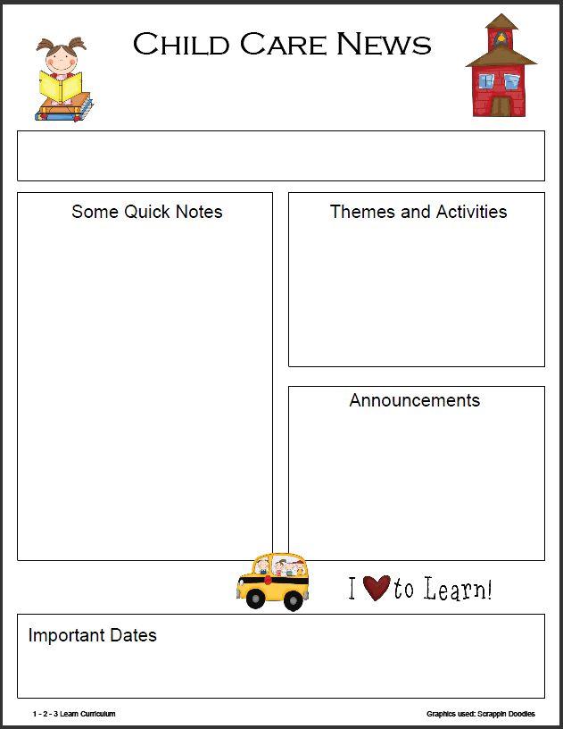 childcare newsletter templates free downloD - Google Search | KKKK ...