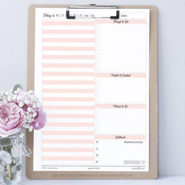 Untimed Daily Planner Template - Green and Lyme