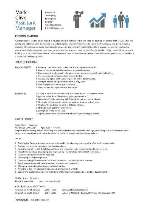 assistant manager resume, retail, jobs, CV, job description ...