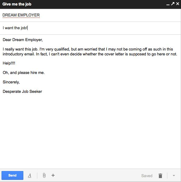 Job application letter email sample