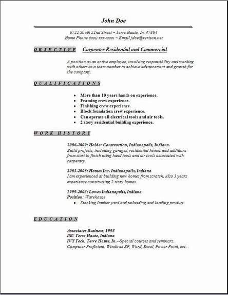 Carpenter Resume Sample | jennywashere.com