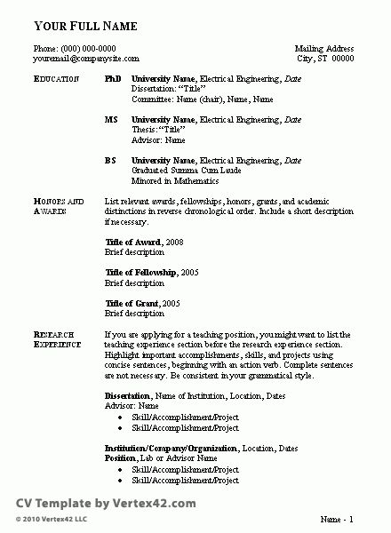 Sample Curriculum Vitae Format For Students - http://www ...