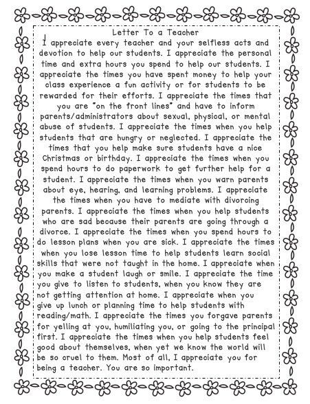 A Letter to a Teacher...this is awesome...teachers are so under ...