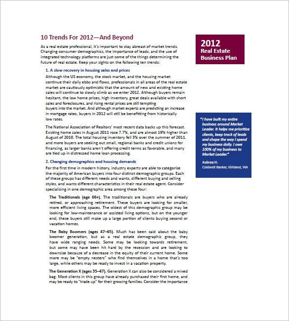 10+ Real Estate Marketing Plan - Free Sample, Example, Format ...