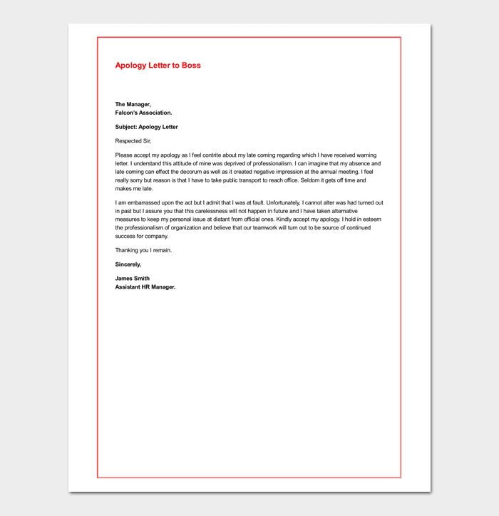 Awesome Apology Letter For Being Late Contemporary - Best Resume ...