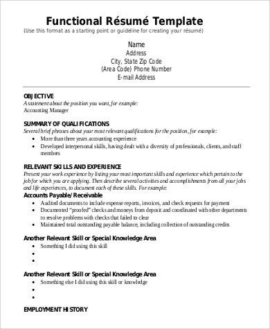Functional Resume Sample - 9+ Examples in Word, PDF