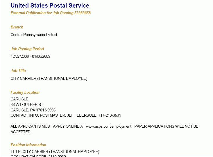 USA Postal Jobs