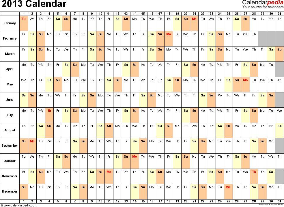 2013 Calendar Excel - 11 free printable templates (xls/xlsx)
