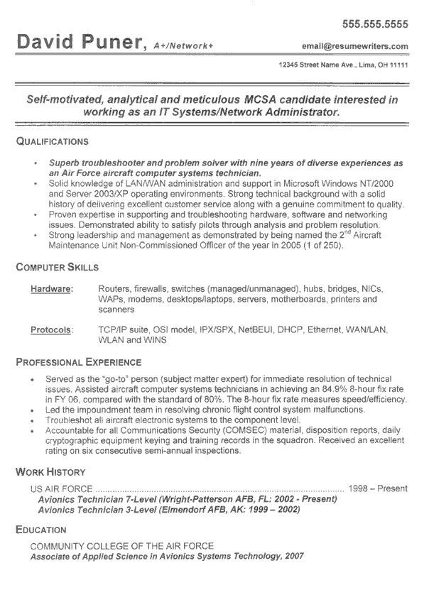 Free Avionics Technician Resume Example Simple Resume Template ...