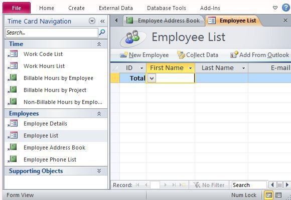 Track Employee Hours With Desktop Time Card Template For Access