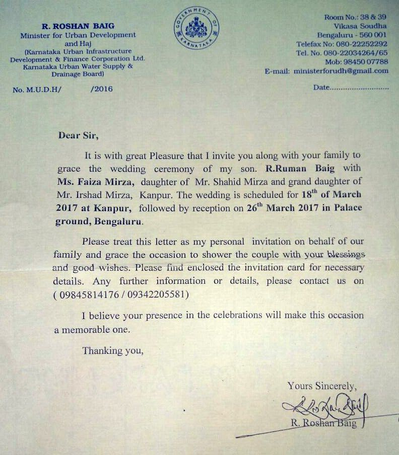 Minister uses official letterhead as invite for son's wedding