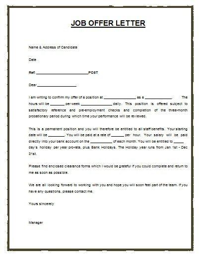 Job Offer Letter Template Microsoft | Resume Format For Job ...