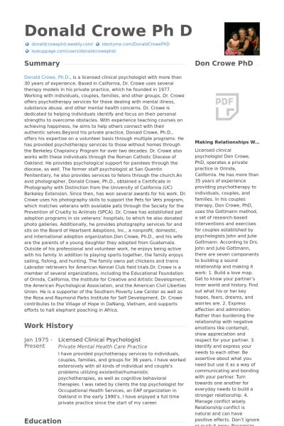 Clinical Psychologist Resume samples - VisualCV resume samples ...