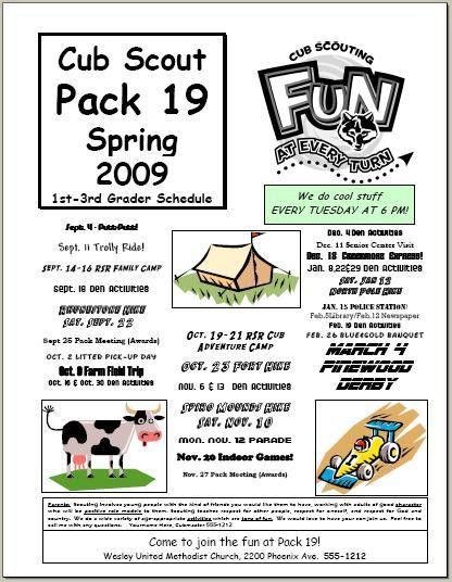 cub scout pack meeting flyer -really good article worth a read too ...