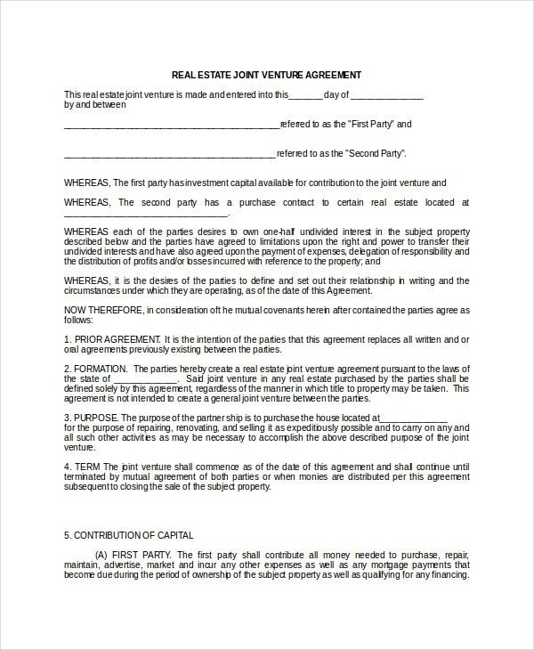 Joint Venture Agreement - 9+ Free Word, PDF Documents Download ...