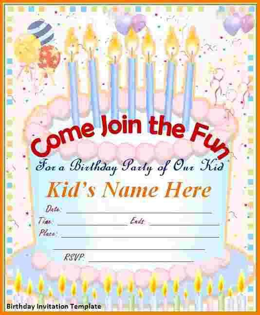 4 free birthday invitation template | Receipt Templates
