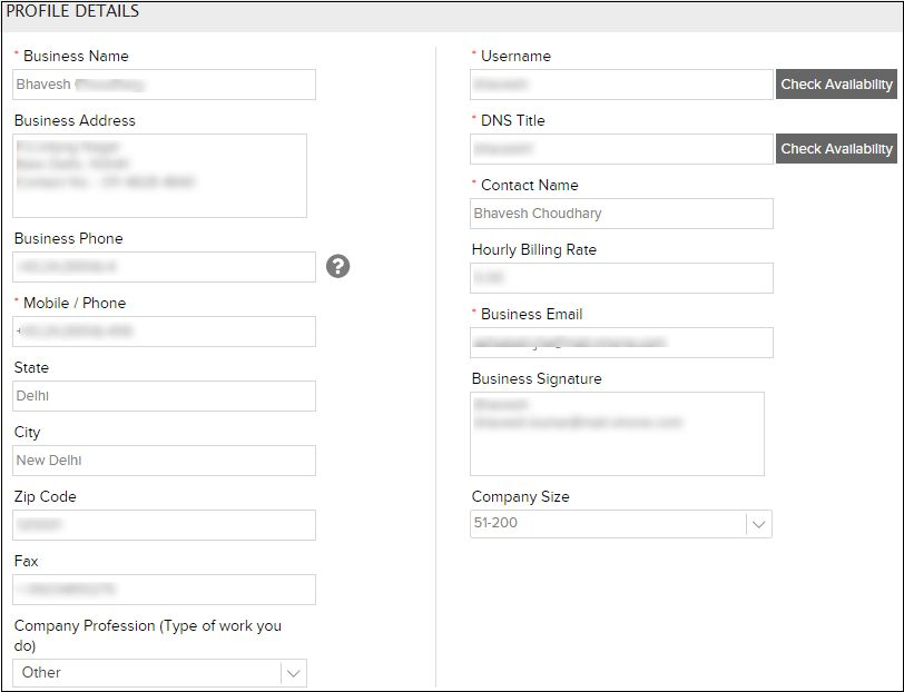Set or change your Company Profile on Invoicera