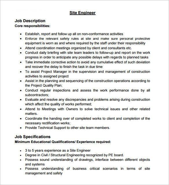 10+ Civil Engineer Job Description Templates – Free Sample ...