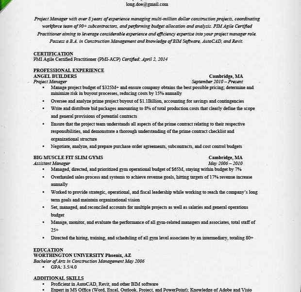 Bold Ideas Project Manager Resume Samples 9 Project Manager Resume ...
