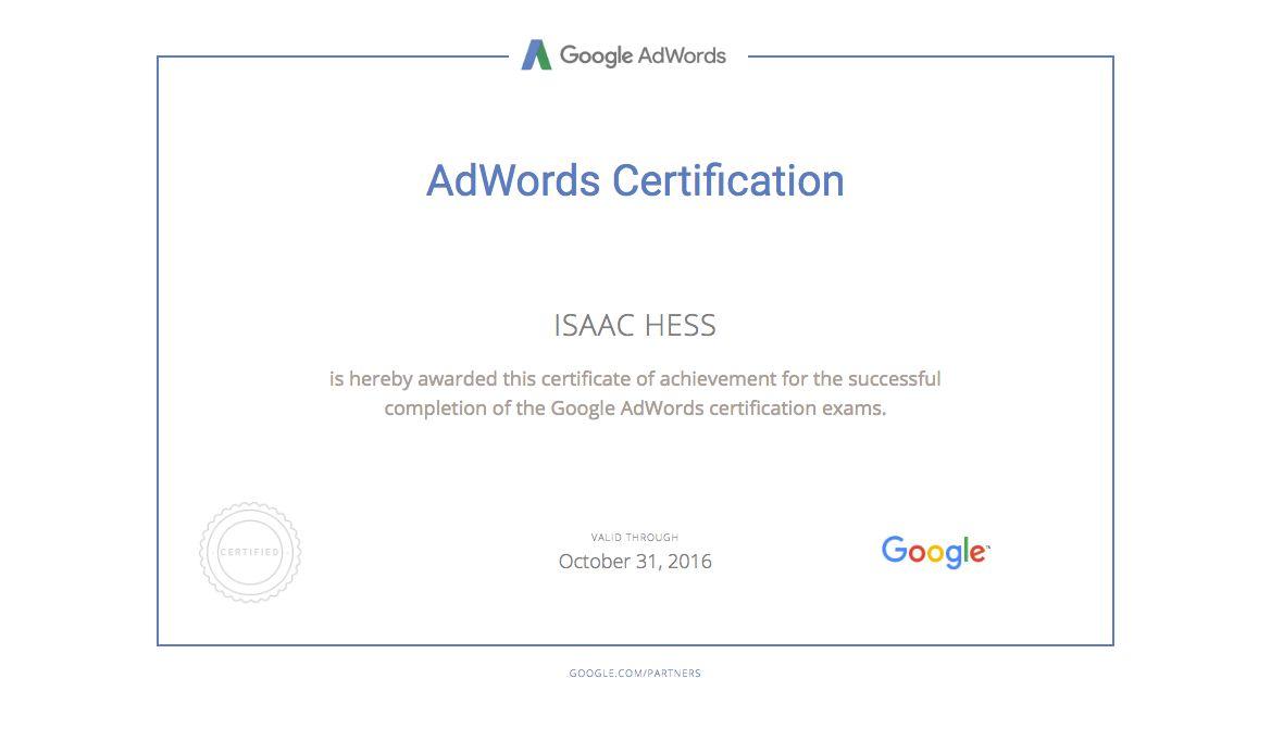 Isaac Hess Digital Advertising Resume