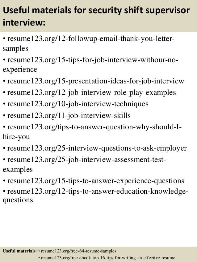 Top 8 security shift supervisor resume samples