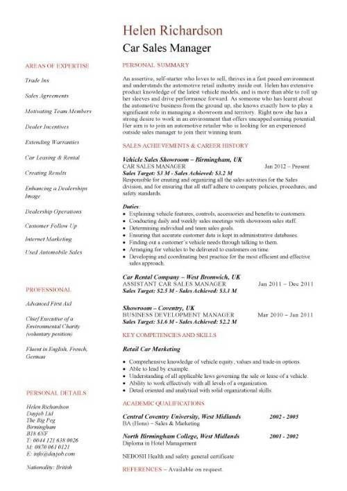 auto sales resume car sales resume examples job description