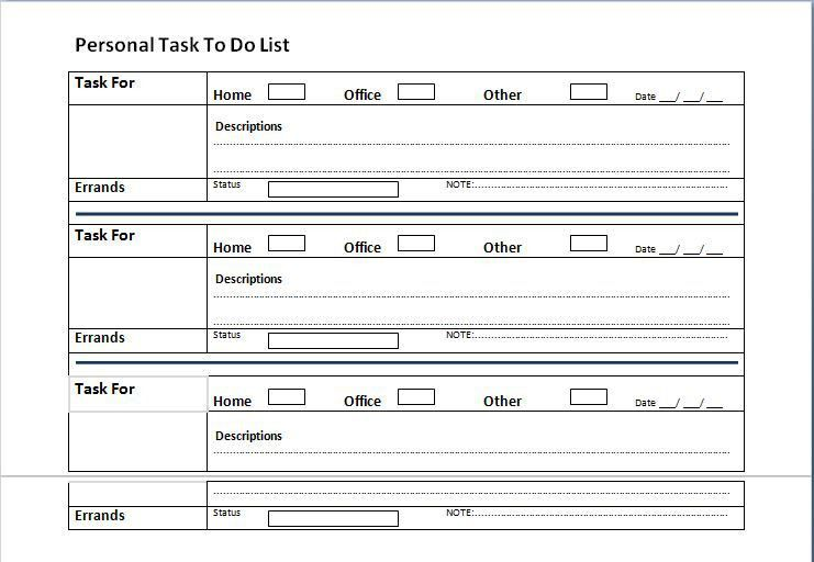 to do list template for word