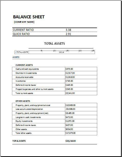 Balance Sheet with Working Capital DOWNLOAD at http://www ...