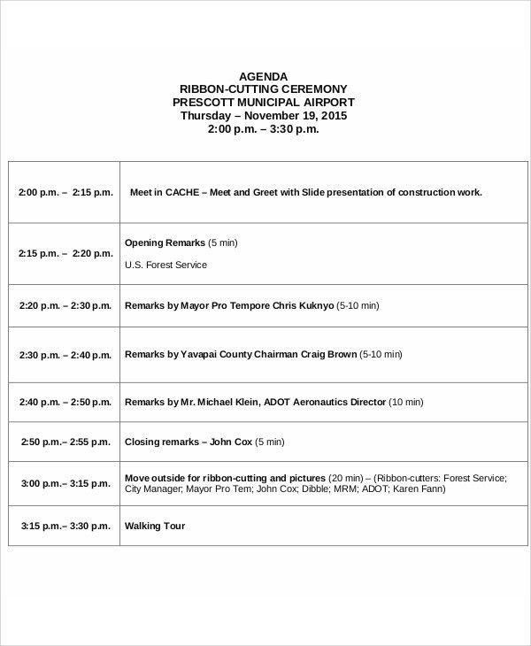 Ceremony Agenda Templates - 9+ Free Word, PDF Format Download ...