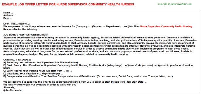 Nurse Supervisor Industrial Nursing Offer Letters
