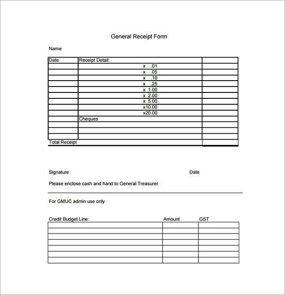 Sample General Receipt Template - 9+ Free Download for PDF