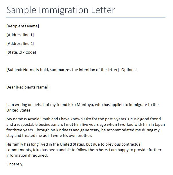 Letter Of Immigration] 5 Immigration Reference Letter Templates