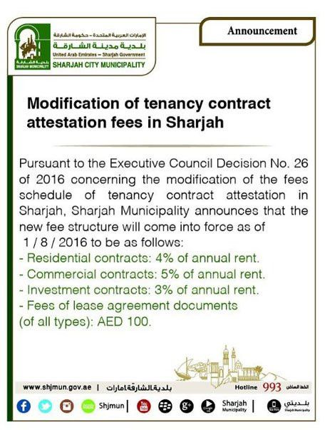 Sharjah rent contract registration fee doubled from August ...