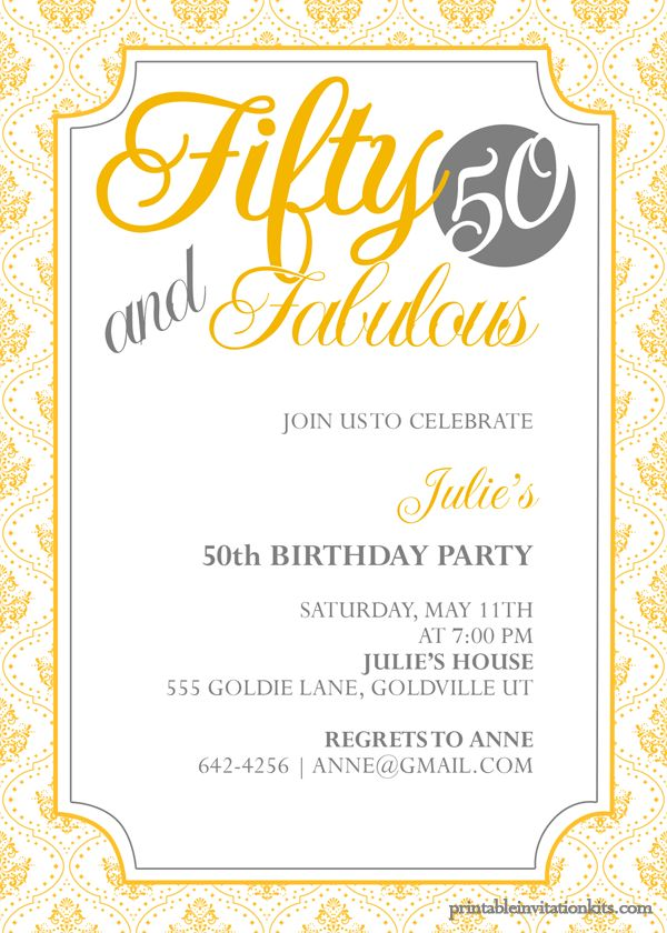 50th birthday invitation wording Templates | Free Invitations Ideas