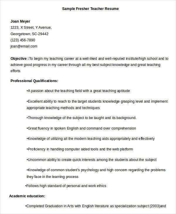 Professional Teacher Resume Templates- 23+ Free Word, PDF ...
