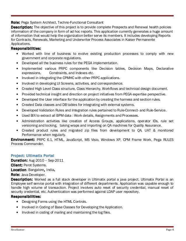Pega Sample Resume | Pega cssa resumes